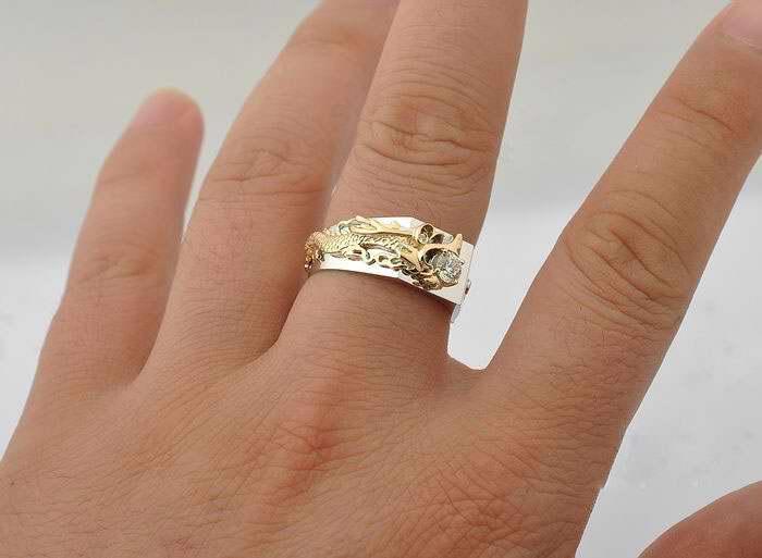 Cultura della moda Cina lungo dorato 0,33 ct anello di diamanti sintetici uomo Soild argento 18 k oro bianco anelli placcati non sbiadirsi alta qualità