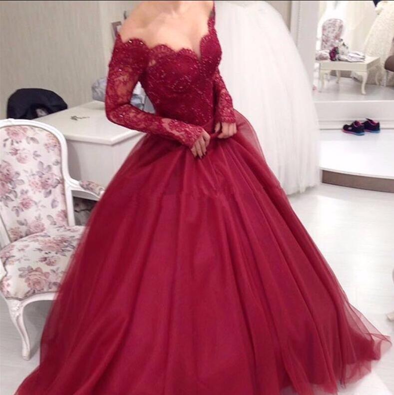 Elegant Ball Gown Beaded Lace Burgundy Prom Dresses 2017 Scallop V Neck  Illusion Long Sleeves Off Shoulder Tulle Beading Evening Dresses Short Prom  Dresses ... 9efe12e7e