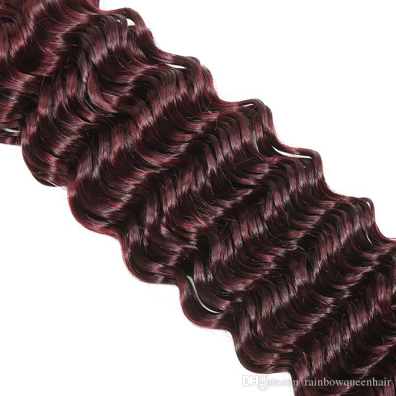 Burgundy Deep Wave Lace Closure With Brazilian Hair 3 Bundles Human Hair Weave Unprocessed Wine Red Hair Extensions Deep Curly Wave Closure