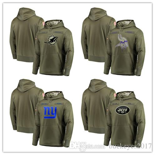 size 40 335e2 82f98 2018 Men Minnesota Vikings Sweatshirt Olive Miami Dolphins Salute to  Service New York Giants New York Jets Sideline Pullover Hoodies