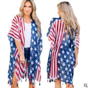 Blouses & Shirts Fashion Printing Women Sunscreen Coat Ultra Thin Loose Midi Summer Tassels Cape Poncho Shirt
