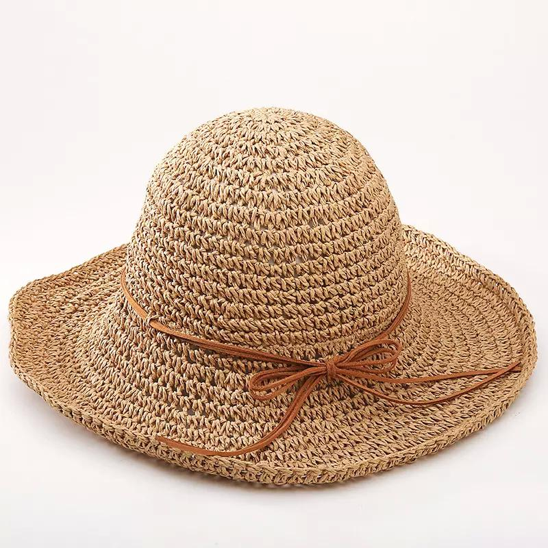 1cae0d2df62 Fashion Women Raffia Grass Straw Sun Hat Elegant Lady Dome Bucket Cap Lady  Folding Wide Brim Sunbonnet Sun Shading Beach Sunhat Cheap Hats Kids Hats  From ...