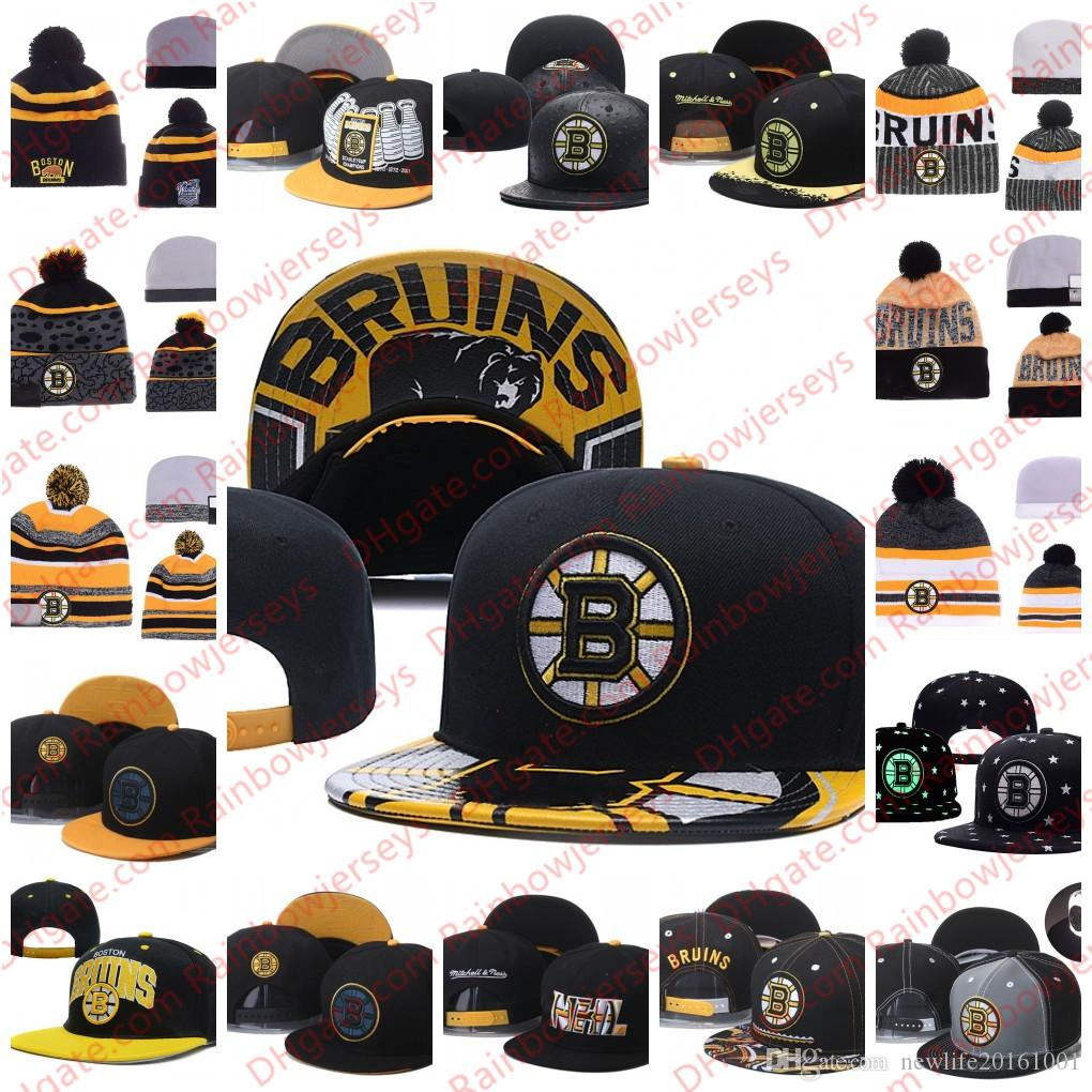 f5023a66865 2019 Boston Bruins Snapback Caps Embroidery Ice Hockey Knit Beanies  Adjustable Hat Black White Yellow Gray Stitched Hats One Size For All From  ...