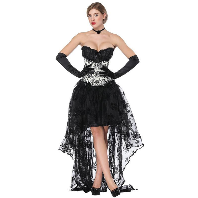 2019 Black Floral Corsets And Bustiers Victorian Dress Steampunk Clothing  Gothic Corpetes E Corselet Sexy Burlesque Corset Skirt Set From Blairi eda6d9848c38