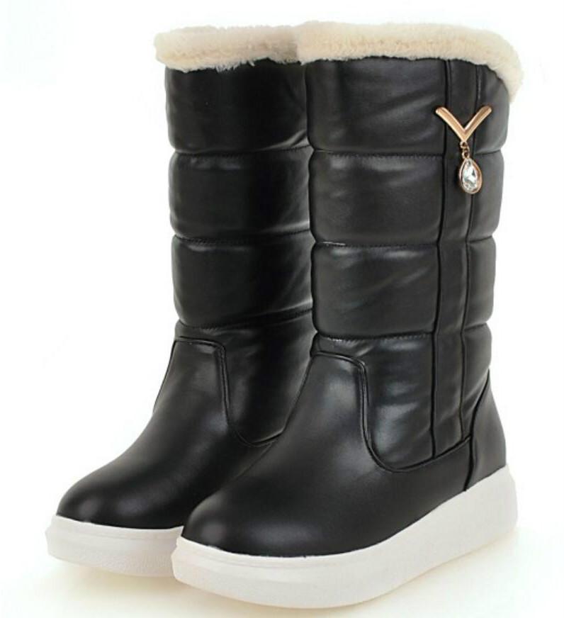 a55e9ab874ea5 Acquista Zapatos Mujer Sapato Stivali Da Donna A Metà Polpaccio Da Donna  Chaussure Stivaletti Metà Tacco Inverno Neve Caldo Zeppa Scarpe Donna  Cristallo ...