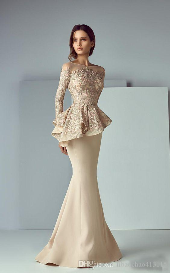 Champagne Lace Stain Peplum Wear Prom Dresses 2018 Sheer Neck Long ...