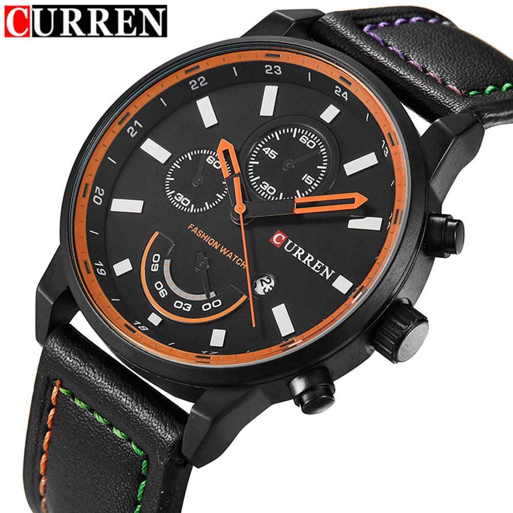 CURREN Top Luxury Brand Men Sport Quartz Waches Men S Leather Strap Date Clock  Male Casual Wrist Watch Relogio Masculino Hombre Black Watches Wholesale ... 3e91668534297