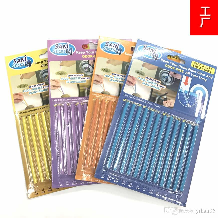 12pcs/set Sani Sticks Sewage Decontamination To Deodorant The Kitchen Toilet Bathtub Drain Cleaner Sewer Cleaning Rod