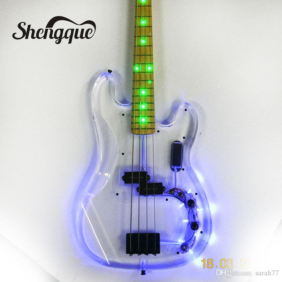 factroy custom acrylic body bass 4 strings jazz bass with led lights arcrylic guitars musical. Black Bedroom Furniture Sets. Home Design Ideas