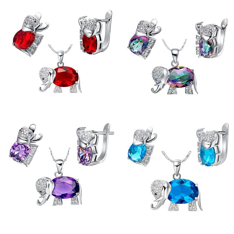 Almei Multiclor Blue Kids Elephant Sets Animal Crystal Jewellery Sets for Women Earring Necklace Jewelry Set Costume Gift T485NR