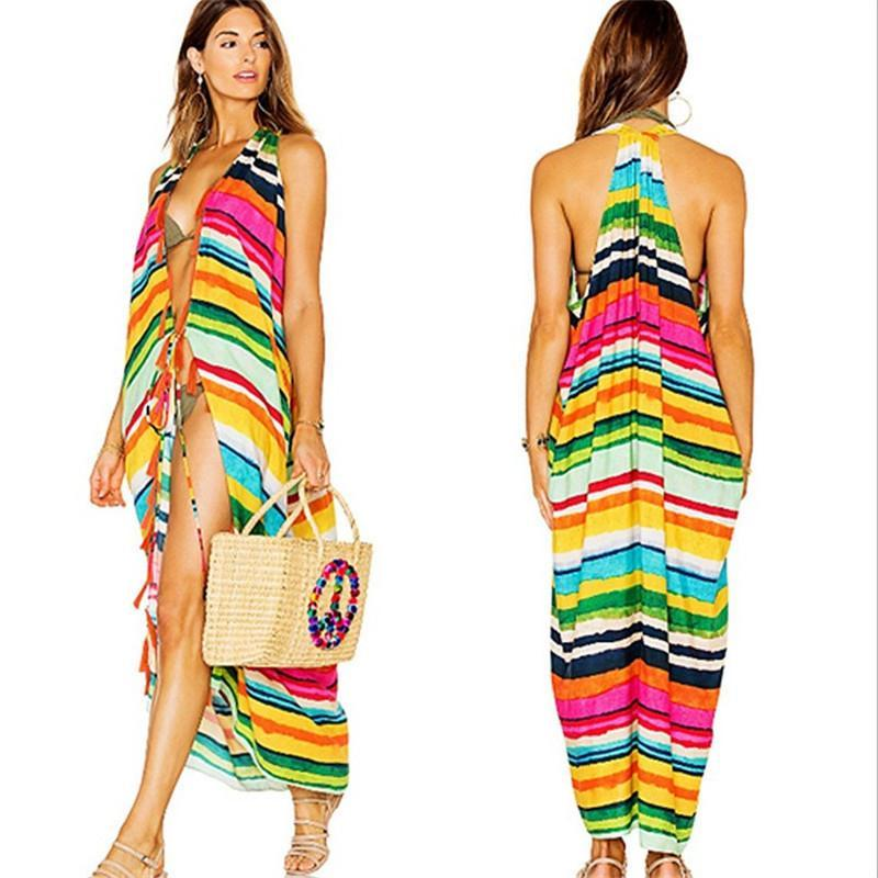 81f89731ea305 2018 Multicolor Sexy Swimsuit Cover Up Women Loose Sleeveless Cotton Beach  Bikini Blouse Beach Sunscreen Dress Strapless Vacation Long Cardigan From  ...