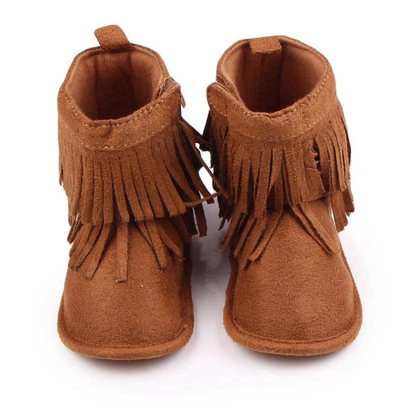 70a1f0655da55 Baby Boots Girls Boys Winter Snow Boots Newborn Infant Toddler Brown shoes  Cute Fringe Design Antiskid Sole for Babies