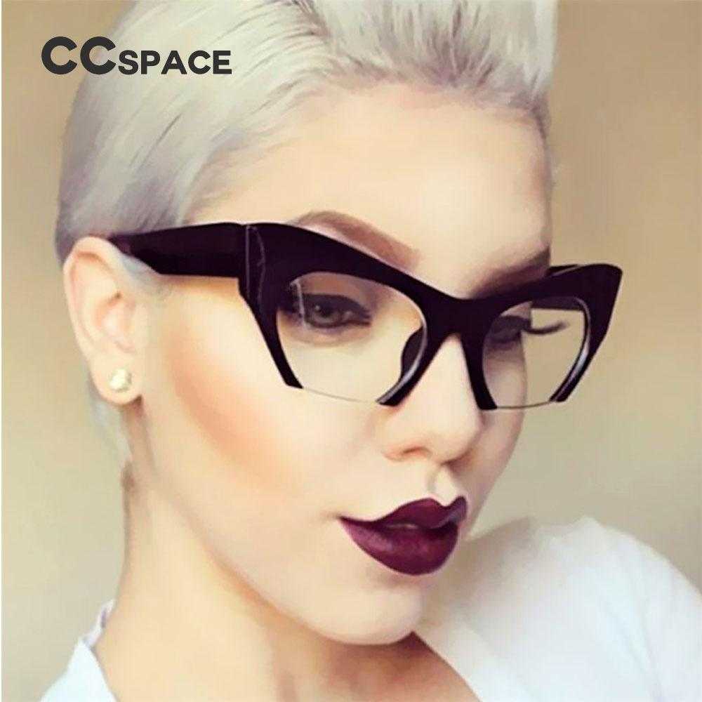 3513b4284e3e 2019 CCSPACE Ladies Small Half Frame Cat Eye Glasses Frames Women Brand Designer  Optical Fashion Eyewear Computer Glasses 45292 From Haydena