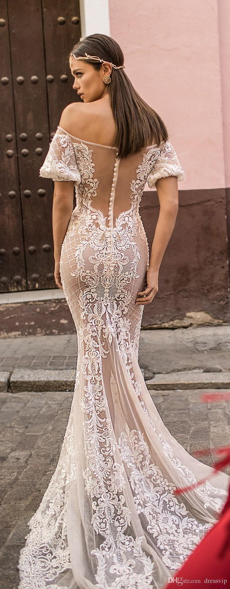 2018 Berta Mermaid Wedding Dresses Off Shoulder Short Sleeve Lace Tulle Applique Beach Wedding Gowns Sexy Plus Size Boho Bridal Dress