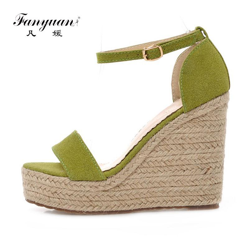 aeef3ed404e Brand Fanyuan Shoes Women Beach Boheme Sandals Summer Wedge Heel Sandals  Concise Party Lady Super High Heels Platform Sandals Wholesale Shoes  Sandles From ...