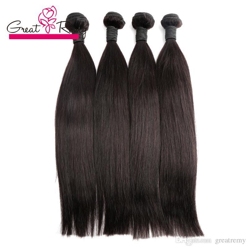 Greatremy®/ロット卸売人間の髪の毛束天然黒ストレートボディウェーブ深い巻き毛織り8-24インチのバージンヘア緯糸