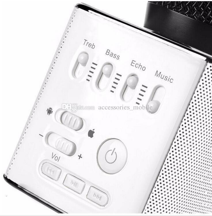 Yeni tip Sihirli Bluetooth Mikrofon Hoparlör Q9 Karaoke Singing Kayıt Oyuncu KTV iPhone7 için Kablosuz Taşınabilir Mikrofon artı Samsung S7 Ed