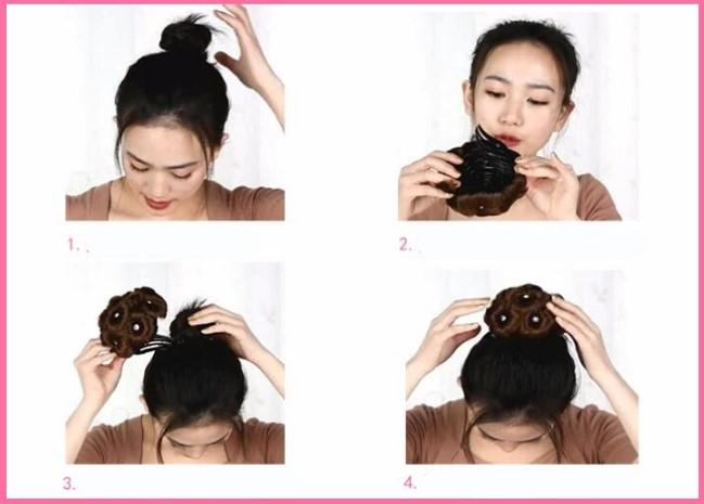 Женские красивые большие клипсы вьющихся синтетических волос с булочками для волос, легко носить в наличии четыре цвета
