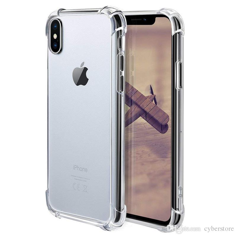 new concept 91e26 2a22a For iPhone X XS MAX XR 7 8 Clear TPU Case Shock Absorption Soft Transparent  Back Cover For Samsung S9 S10 Plus S10e