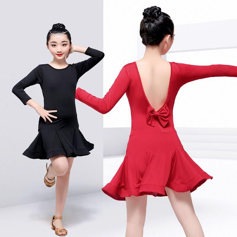 f890802f83 2019 New Fashion V Back Bowknot Latin Dance Dress Girls Salsa Tango  Ballroom Dance Costumes Children Kids Competition Dancewear From Balsamor