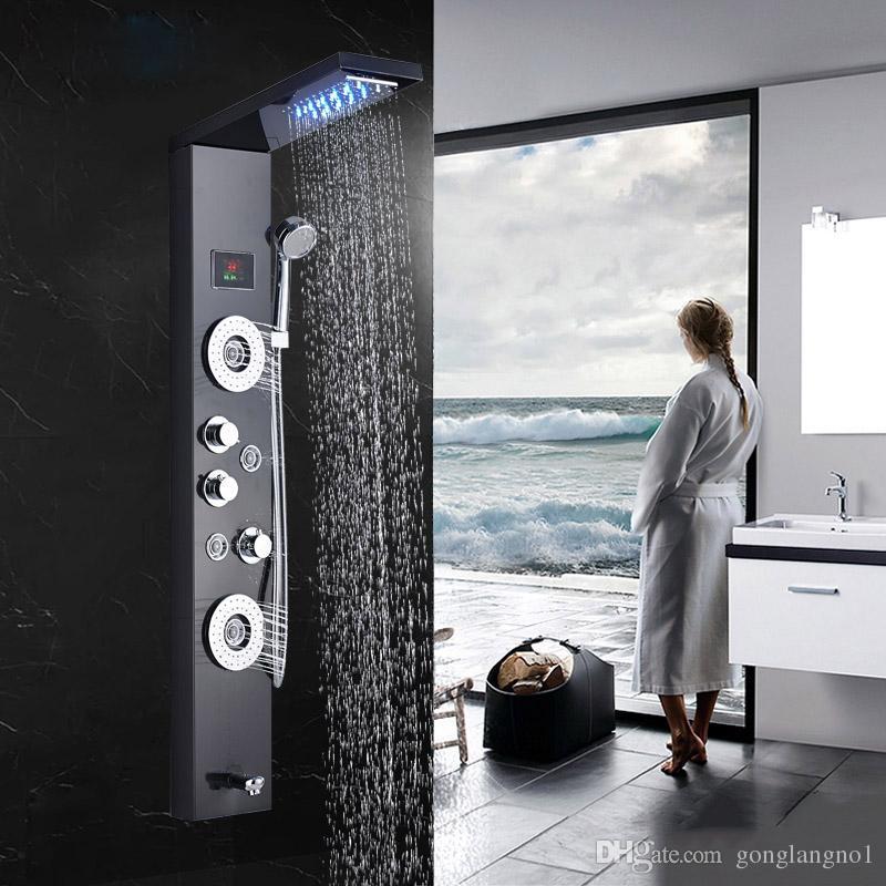 2018 Bathroom Shower Faucet Led Waterfall Rain Shower Panel Massage ...