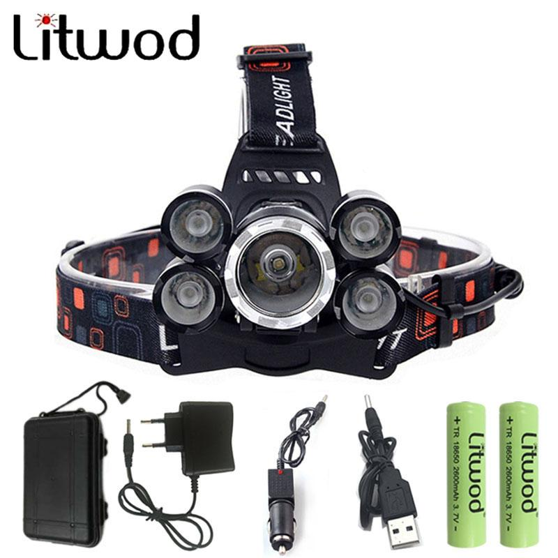 Litwod Z30 12000Lm XML T6 3/5 LED Headlight Headlamp Head Lamp Light 4 Mode Torch 2x18650 Battery Car Charger for Fishing Lights