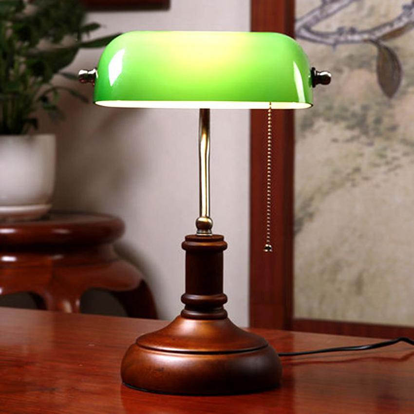 Vintage Holz Green Glass Tisch Lampe Chinesischen Stil Schlafzimmer Nachttischlampen Wohnzimmer Buro Arbeitszimmer Antiken Grunen Schreibtischlampe
