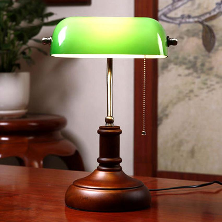 2019 Vintage Wooden Green Glass Table Lamp Chinese Style Bedroom