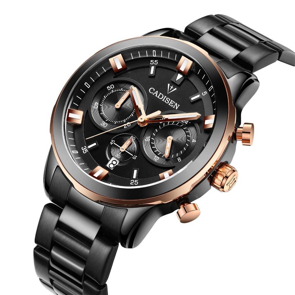 b60d51f356a Compre Cadisen Original Dos Homens Cronógrafo Relógios De Quartzo Homens  Top Marca De Luxo Relógios De Pulso À Prova D  água Relógio Clássico Horas  Relógio ...