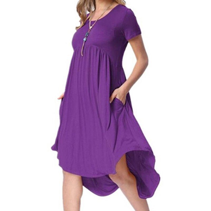 5cb7f3167 Summer Pocket Dresses Female Irregualr Knee Length Dress Vestidos De Fiesta  Casual Loose Solid Color Dress All White Maxi Dress Cute White Summer  Dresses ...