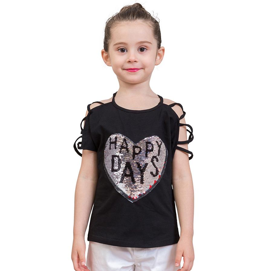 d30766523e404 LCJMMO 3-10Y Fashion Style Sequins Girls T-Shirts Summer 2018 New Cotton  Animal Girl Tops Tees Kids T-shirt Children Clothes