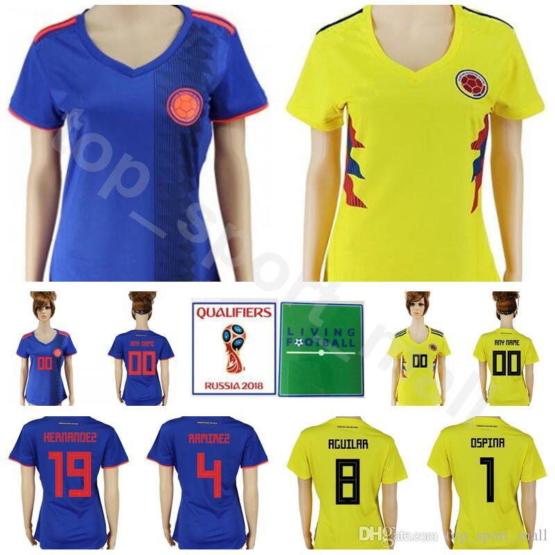 d63e5c8a8fb 2019 World Cup 2018 Colombia Women Jersey Soccer Goalkeeper 1 OSPINA 13  MINA 17 MOJICA 14 MURIEL 19 BORJA 19 GUTIERREZ Football Shirt Kits Lady  From ...
