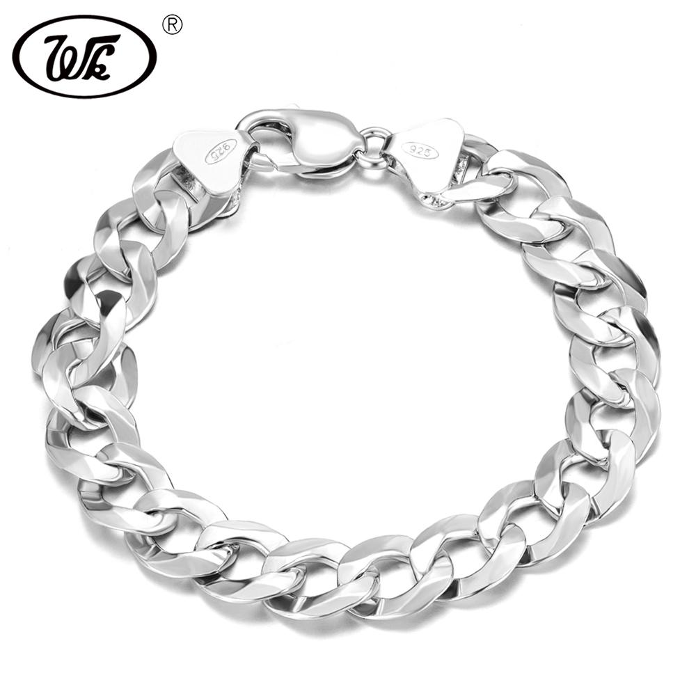 WK Long Thick Men Male Sterling Silver Bracelet 925 Hip Hop Rapper Cuban Curb Chain Bracelet 4MM 5MM 6MM 7MM 8MM 9MM 12MM BM006 S18101507