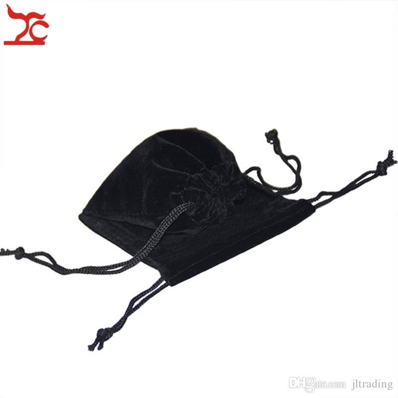 Good Quality Black Red Fabric Drawstring Jewelry Package Pouch Present Birthday Trinkets Organizer Storage Gift Bag 7*9cm