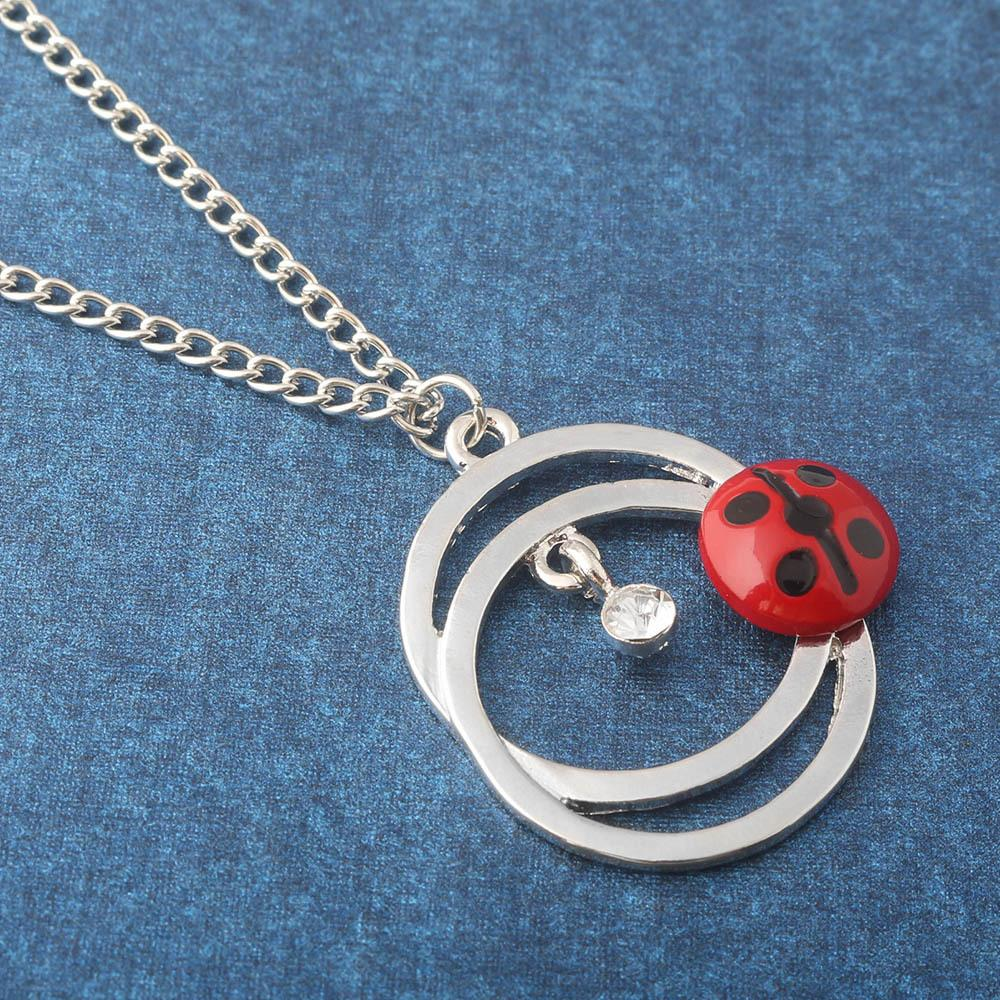 Cat tail Ladybug Necklace Crystal Necklace Pendants Chain Fashion Jewelry for Women