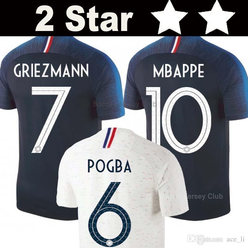 2 Stars Francia Camisetas De Fútbol 2018 France Soccer Jerseys Copa Del  Mundo Griezmann Mbappe Pogba Dembele Martial Kante Coman Football Jersey De  Fútbol ... ac674bccdc053