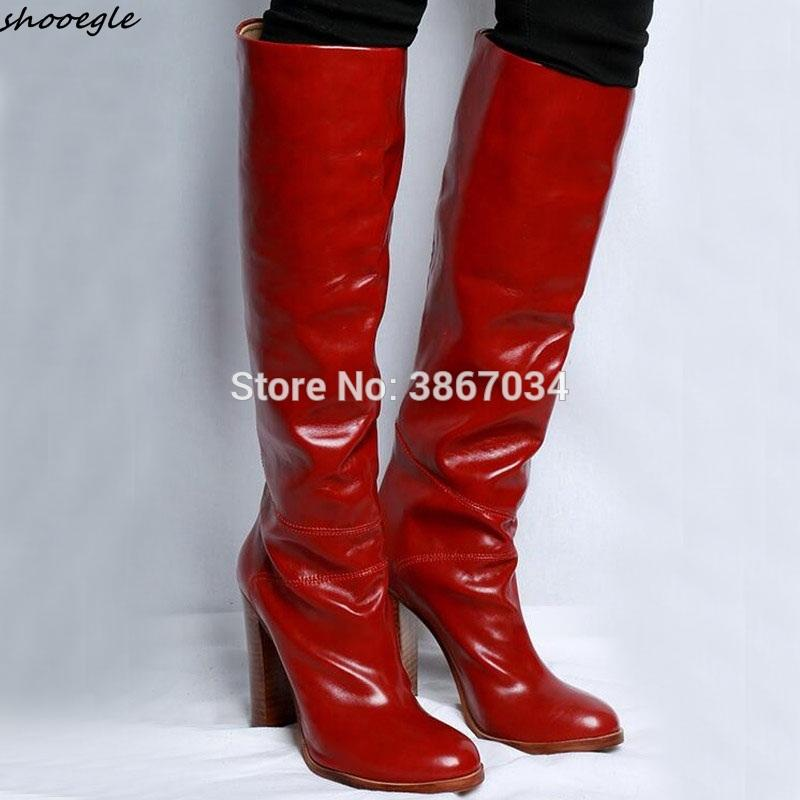 2f39478ad48 SHOOEGLE Burgundy Cow Leather Knee High Boots Women Block High Heels Slip  On Motorcycle Boots Women Shoes Winter 2018 Cat Boots Shoe Sale From  Wiskey