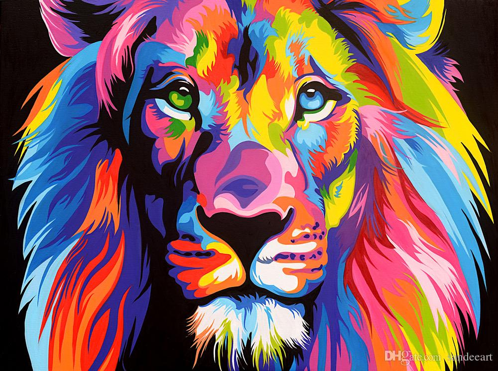 2018 modern colorful lion head animal lion oil painting canvas