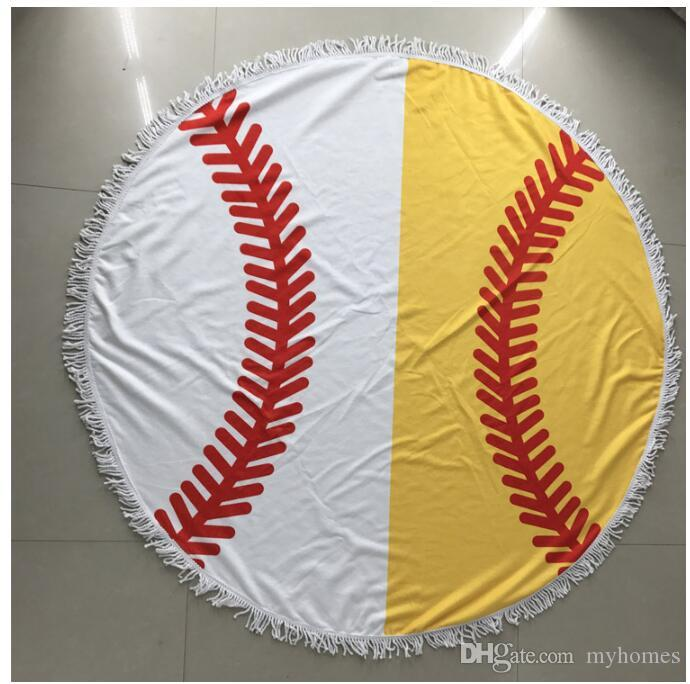 Wholesale Baseball Softball Tapestry Beach Towel Round Tablecloth with Tassel Fringing Beach Blanket Covers Beach Shawl Wrap Yoga Mat
