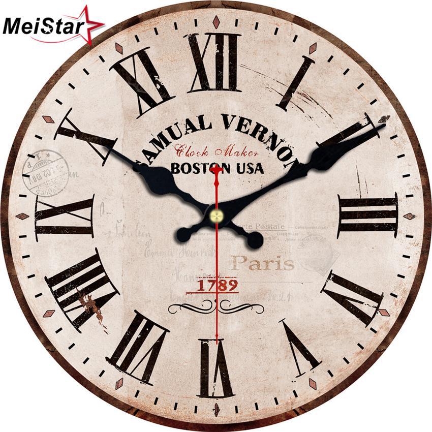 a89fea2b75e Compre MEISTAR 3 Padrões Vintage Rodada Relógio Breve Design Antigo  Silencioso Cafe Relógios De Cozinha Home Decor Art Retro Relógios De Parede  Grande De ...