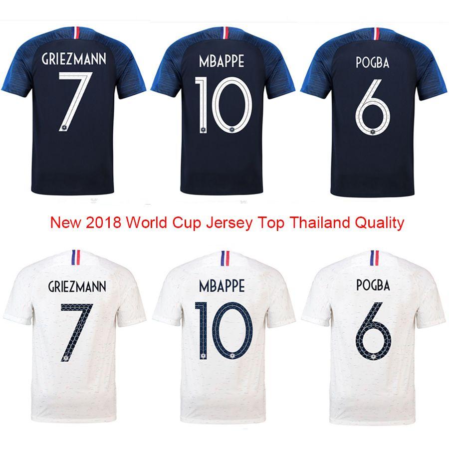 2018 19 World Cup Top Thai Best Quality Men Home Away Blue White Fashion Big Size T Shirt France 4xl Mbappe Griezmann Soccer Jerseys Male Pogba Football Plus
