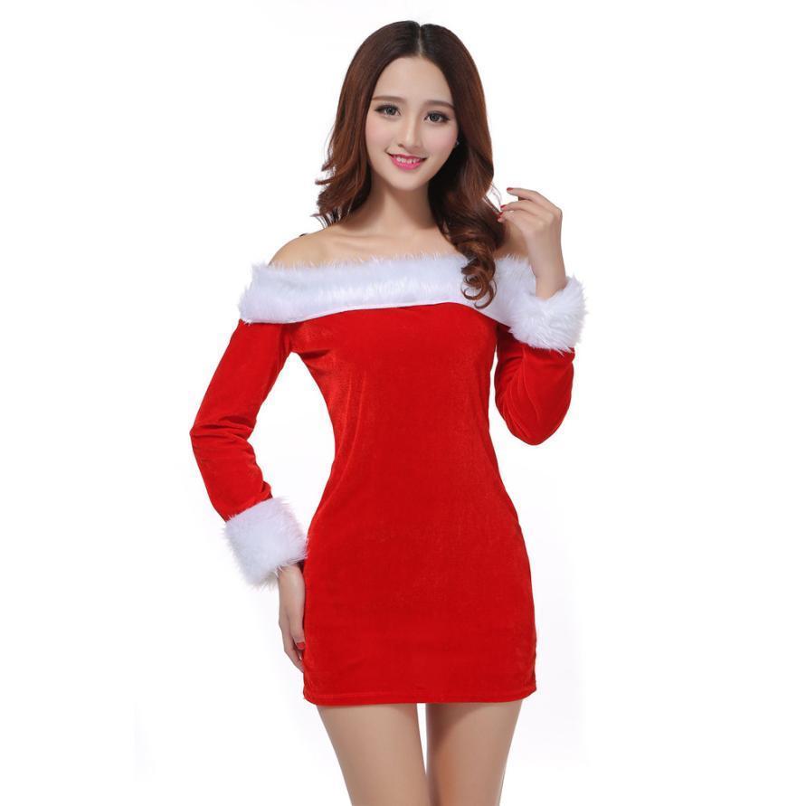 a66d0aee5 Compre Las Mujeres Del Invierno Se Visten Sexy Traje De Navidad De Santa  Disfraz Navidad Fiesta De La Oficina Traje Elegante Para Mujer Mini Vestidos  ...