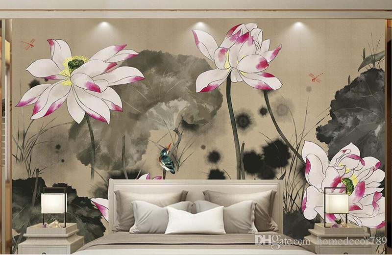 Personalizzato 3d foto carta da parati murales dipinti a mano in stile classico cinese dipinto murale pittura decorativa soggiorno sala riunioni parete