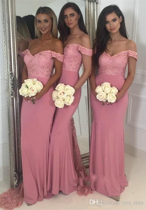 Dusty Pink Mermaid Bridesmaids Dresses 2018 Country Off Shoulder Cap  Sleeves Lace Beaded Backless Sweep Train Arabic Wedding Guest Gowns  Bridesmaid Dresses ... 971f4c21f473
