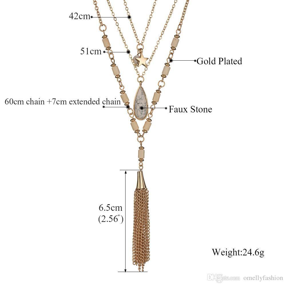Collar de cadena de oro de múltiples capas de la borla de Druzy Boho colgantes de piedra Kate Scott Collar largo para las mujeres Joyería de la muchacha al por mayor a granel