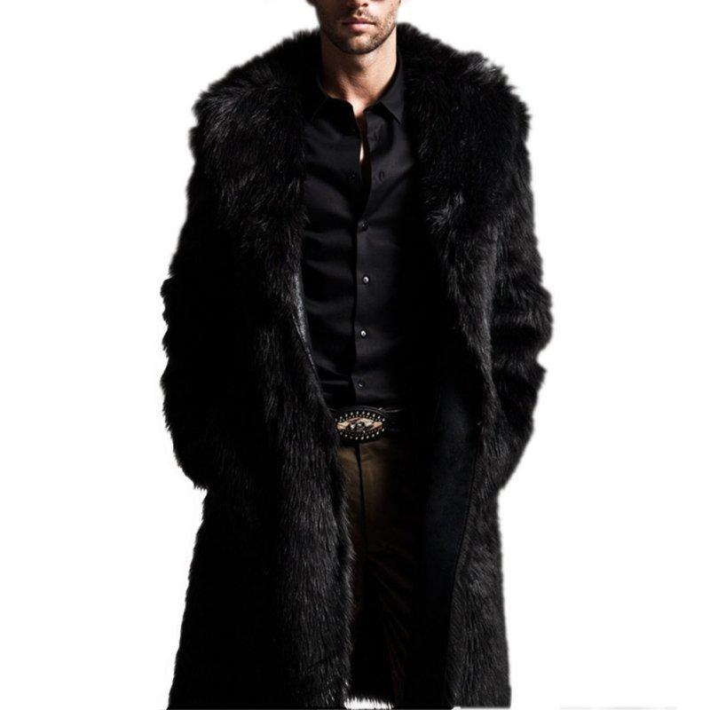 5d1df792cc9 2019 Wholesale Men Winter Coats Rabbit Faux Fur Long Jackets Men Coat Long  Sleeve Turn Down Collar Coat Men Long Outwear Coat From Buxue