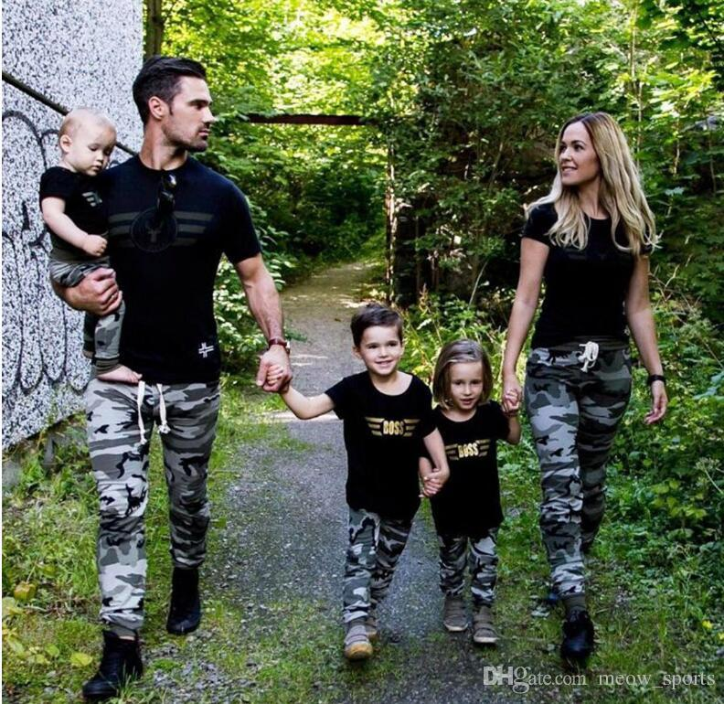 4cf01043e1 Family Matching Outfits Boss Short Sleeved Parent-child Suit Dad And Mom  And Kids And Baby Set Clothes Family Matching Outfits Boss Set Family Cloth  ...