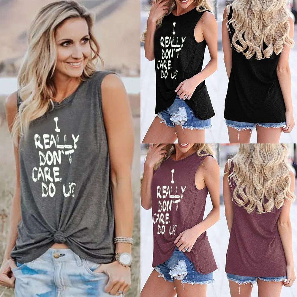 416268a9285af4 Autumn 2018 Plus Size Shirt Women Letter Print Vest Top Sleeveless Summer  Beach Women Clothing Fashion Sexy Tops Shirts And T Shirts Buy Cool T Shirts  From ...