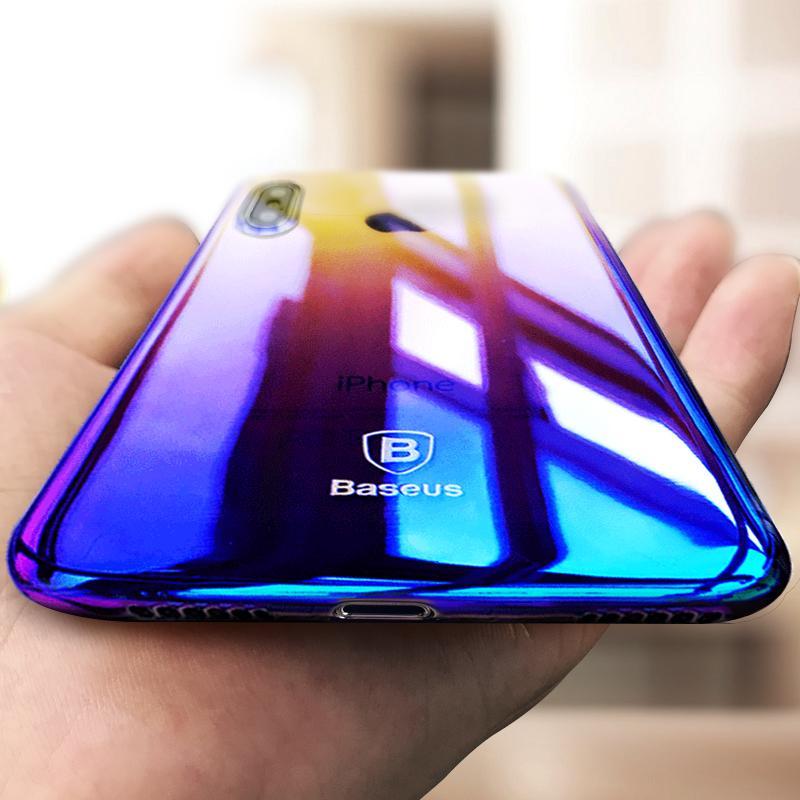 buy online b75de e8bd0 Baseus Originality Case For iPhone X case luxury Aurora Gradient Color  Transparent Case For iPhone X light Cover Hard PC Cases