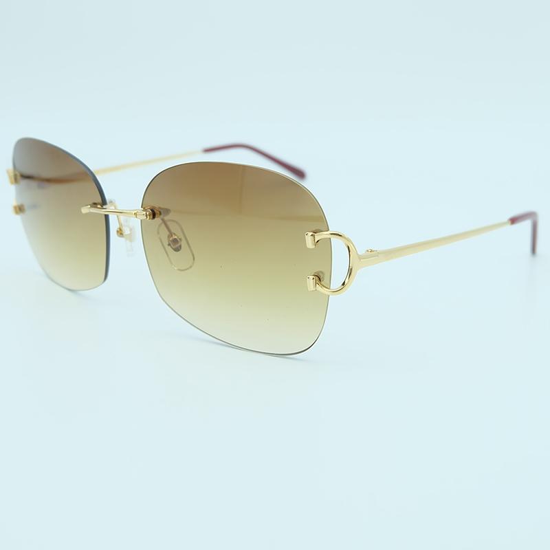 66e0a154a1468 Compre Oversized Luxo Óculos De Sol Mens Designer De Moda Tendências De  Produtos 2018 De Alta Qualidade Óculos De Sol Sem Aro Grande Óculos De Sol  De ...